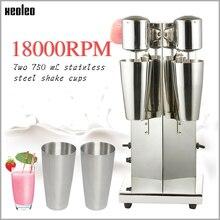 Xeoleo Milkshake machine Stainless Steel Milk Shake Machine Double Head Drink mixer Make Milks Foam/Milkshake Bubble Tea Machine