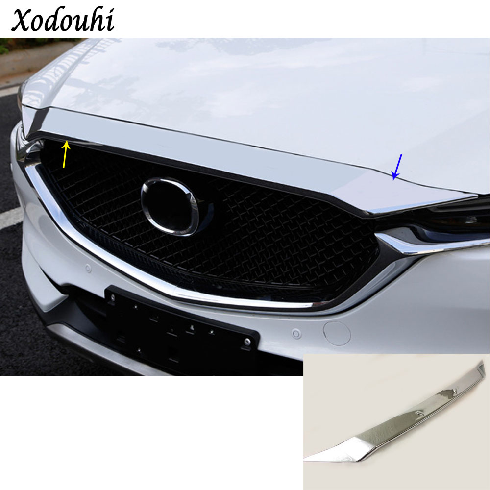 Car ABS Chrome front engine Machine racing grille grill hood stick lid trim lamp hoods For Mazda CX-5 CX5 2nd Gen 2017 2018 car garnish cover abs chrome front engine machine grille grid grill lid trim lamp 1pcs for kia sorento l 2015 2016 2017 2018