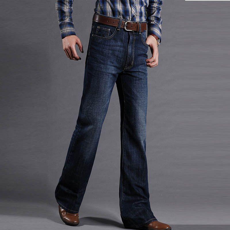 ФОТО Mens Slim Fit Flare Jeans Male Designer Classic Denim pants Male Casual Business Boot Cut jean Pants 101202