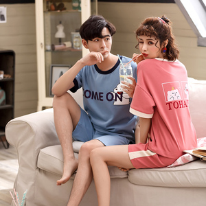 Image 2 - Summer Pyjamas Cotton Cartoon Couple Pajamas Set Short Sleeve Two Pieces Set Pajama Cute Casual Soft Plus Size Lovers Sleepwear