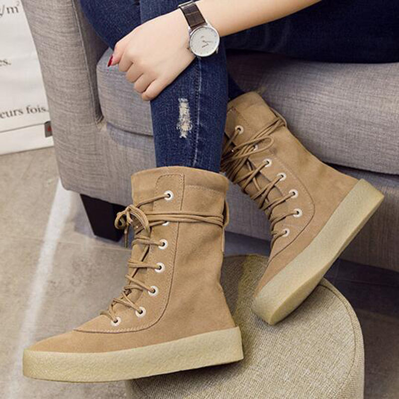 New Arrival Casual Boots Women Fashion Khaki Matte Leather Round Toe Lace Up Taupe Crepe Flat Ankle Short Boot Size 35-44 2017 new genuine leather elastic band chunky women ankle boot casual round toe anti skid spring autumn flat short boots zy170919