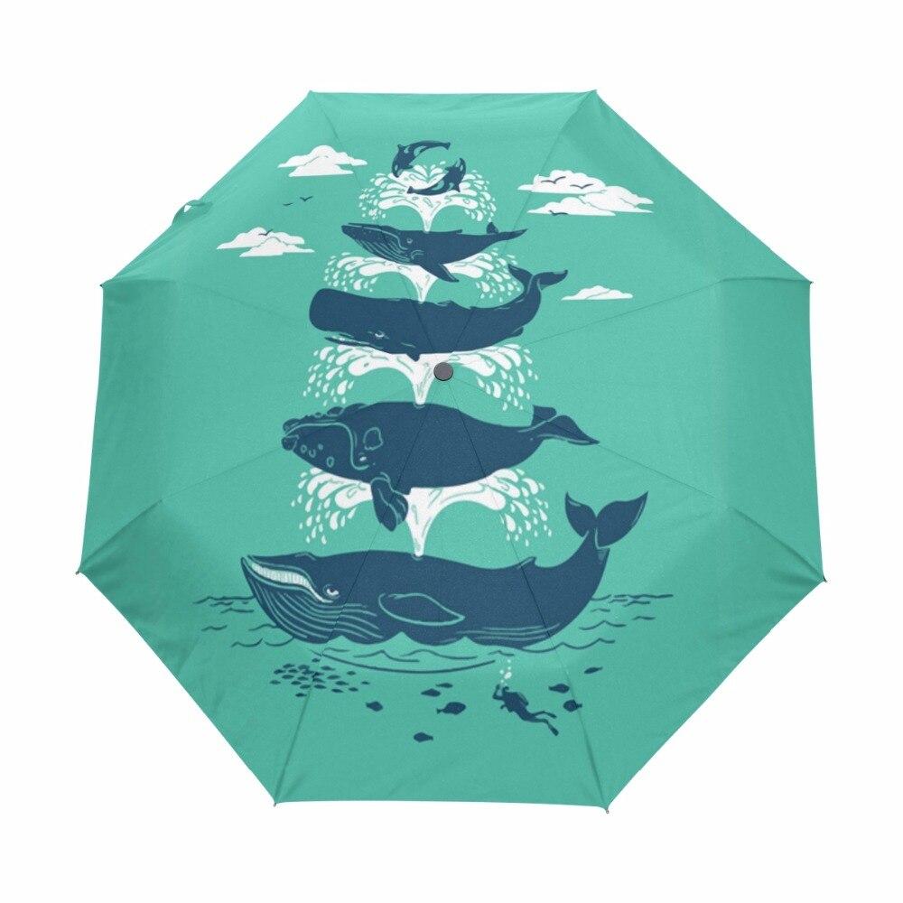 d4e9cb36ba4b Whales Spout Water Pattern Automatic Umbrella Three Folding Sun Rain  Umbrellas For Children Women Men Windproof Paraguas -in Umbrellas from Home  & ...