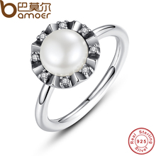BAMOER 925 Sterling Silver Everlasting Grace Stackable Finger Ring with Pearl & Clear CZ Original Fine Jewelry PA7152