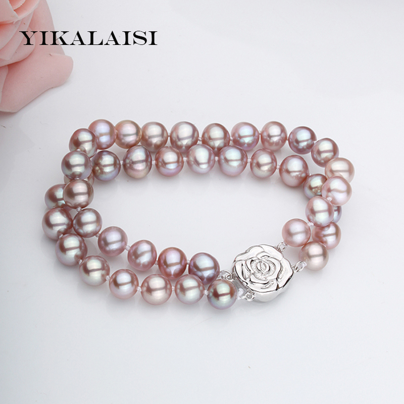 YIKALAISI 2017 Natural Freshwater Pearl Bracelet 8-9mm Pearl 18cm Women Pearl Jewelry Bracelet With 925 sterling silver jewelry 925 silver butterfly bracelet hand woven natural freshwater pearl bracelet filigree butterfly bead jewelry
