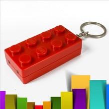2016 Colorful Block Key Rings Trinket LED Light Voice Keychain Toy Brick Key Holder For Child Keyring Finder Kids Porte Clef