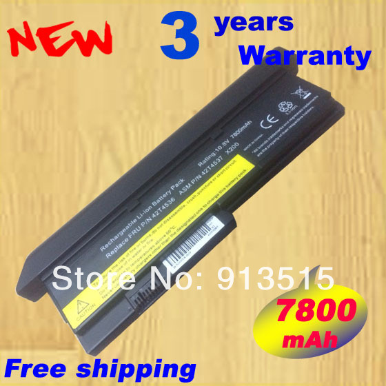 New Extended Battery 42T4534 42T4834 43R9255 42T4538 9cell 7800mAh for IBM Lenovo ThinkPad X200 X200S X201 X201S X201i Series new led flex video cable for ibm lenovo x201 x201i series 44c9990 44c9991