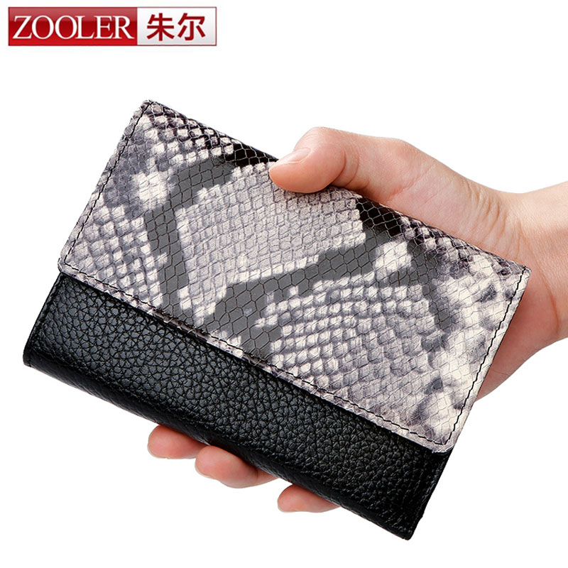 ZOOLER Brand Serpentine Small Wallet Short Genuine Leather Wallet Women Wallets Female Purse Coin Purse Lady Credit Card Holder brand passport women wallets case travel leather wallet female key coin purse wallet women card holder wristlet money bag small