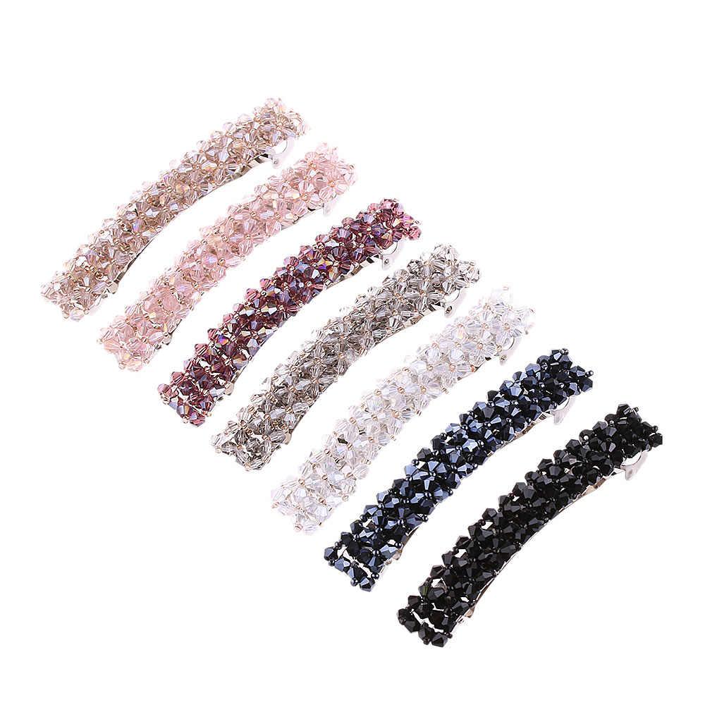 1PC BLING Berlian Imitasi Kristal Logam Jepit Rambut Hiasan Kepala untuk Wanita Jepit Rambut Jepit Rambut Alat Styling Rambut Aksesoris