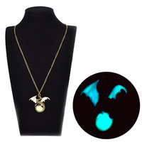 New Fashion Men Women Unisex Glow In The Dark Dragon Surrounding The Moon Pterosaur Pendant Necklace