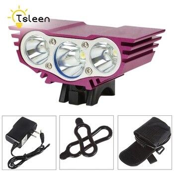 TSLEEN 6000LM 充電式サイクリング Led の自転車自転車ライト 3 * XM-L T6 LED 懐中電灯米国 EU の充電フロントランプ 18650 バッテリーパック