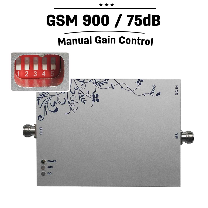 GSM 900 Booster 75dB Gain Moblie Phone Signal Booster 25dBm Manual Intelligent Control 900mhz Cellphone Amplifier