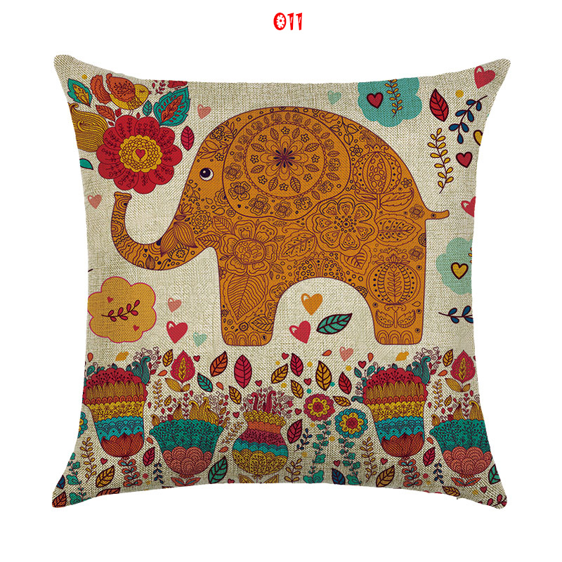 Cushion cover Cartoon baby elephant linen/cotton character design ...