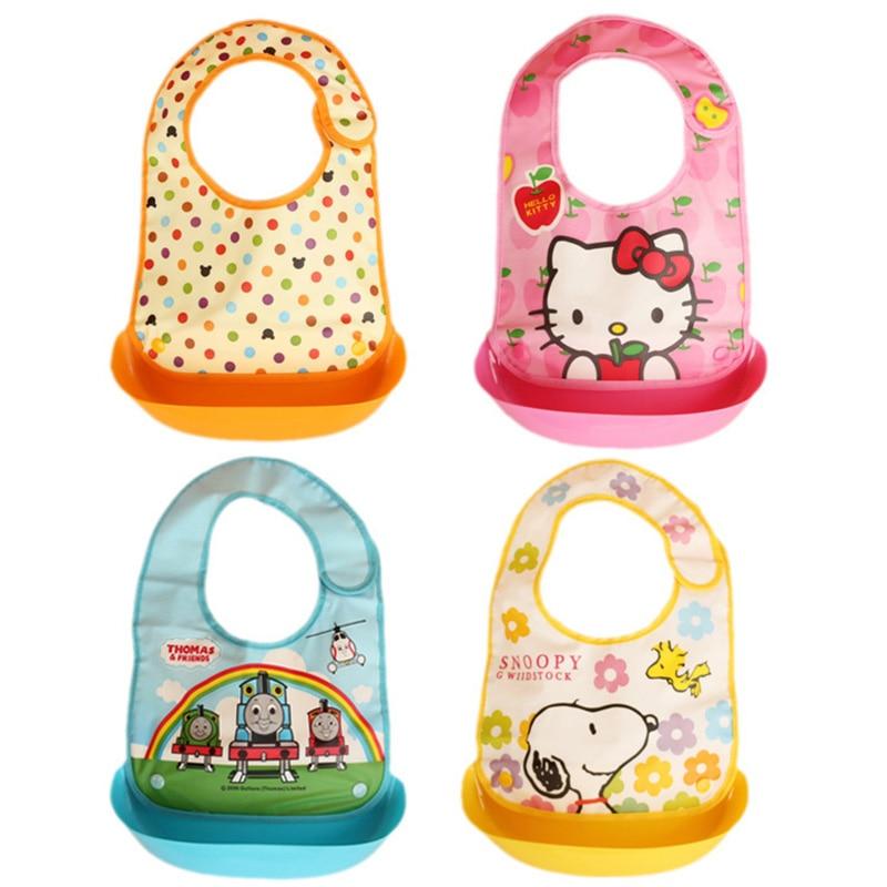 1 pc Baby bibs waterproof removable silicone feeding baby saliva towel soft adjustable newborn cartoon aprons Baby Bibs