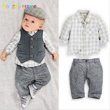 babzapleume Brand Boys Clothes Kids Outfit Gentleman Style Shirt+Pant+Vest 3pcs baby suit 0-2T kinderen Children Clothing BC1001