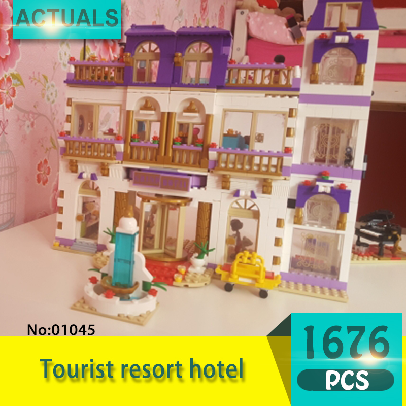 Lepin 01045 1676Pcs Friends series Star Lake City Hotel Model Building Blocks Set  Bricks Toys For Children  Gift Girl toy pretty style pure color canvas women backpack college student school book bag leisure backpack travel bag