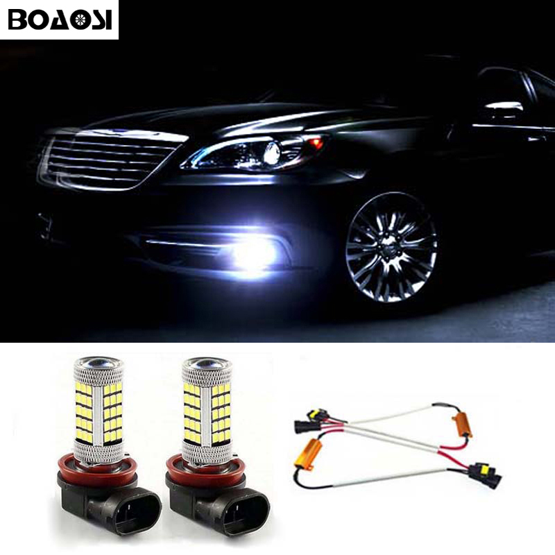 BOAOSI 2x H11 LED Samsung 2835SMD Projector Fog Light DRL 10W +Canbus Decoders Error Free For Mercedes W211 W212 W164 W221 free shipping 2x h11 led projector fog light drl 12w no error for audi a3 a4 a5 s5 a6 q5 q7 tt