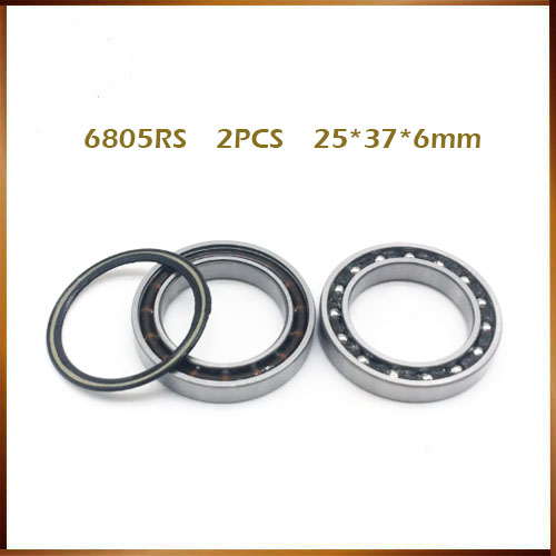 2pcs 6805rs bearing steel ball bearing 6805n <font><b>rs</b></font> 25*37*6mm bicycle 6805N-2RS 6805n 2rs MR25376 2rs image