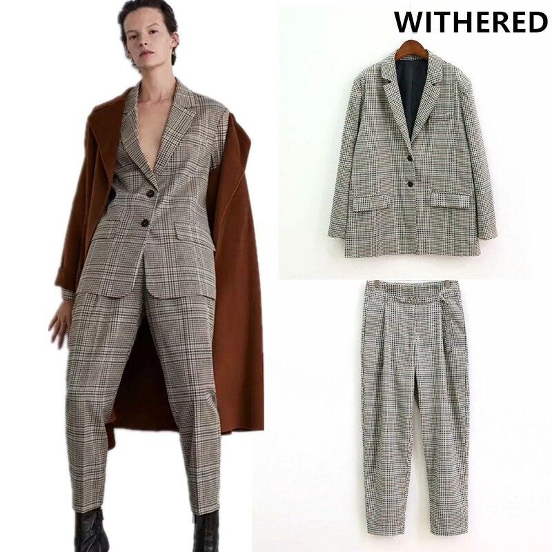 Blazer flétri feminino angleterre plaid femmes blazers et vestes haut de grande taille costume femmes ensemble femme 2 pièces pantalon hauts