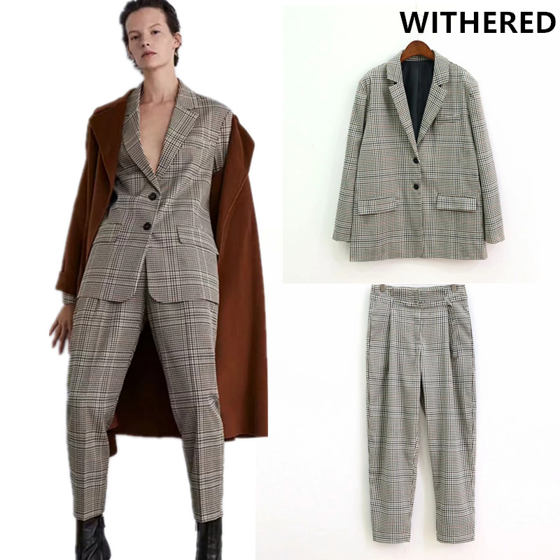 Withered Blazer Feminino England Plaid Women Blazers And Jackets Plus Size Top Suit Women Ensemble Femme 2 Pieces Pantalon Tops