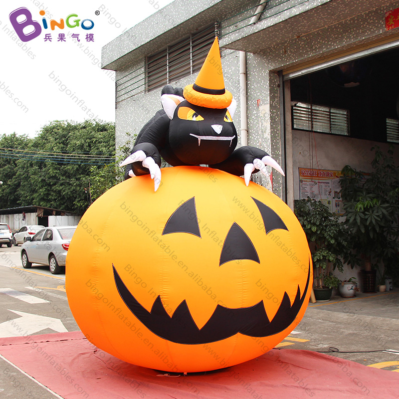 Halloween 10 feet big inflatable pumpkin with black cat 3 meters high airblown halloween inflatables for decoration toysHalloween 10 feet big inflatable pumpkin with black cat 3 meters high airblown halloween inflatables for decoration toys