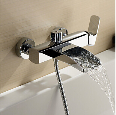 Free shipping Bathroom faucet Waterfall basin faucet Into the wall washbasin water tap Double handle basin