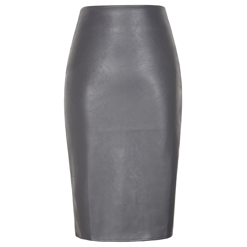 Image 3 - Neophil 2019 Sexy Faux Fur Leather Pu Midi Women Pencil Skirts High Waist Black Ladies Office Wrap Stretch Jupe Femme Saia S1102-in Skirts from Women's Clothing