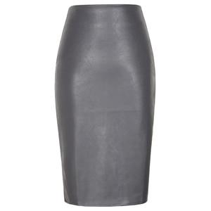 Image 3 - Neophil 2020 Sexy Faux Fur Leather Pu Midi Women Pencil Skirts High Waist Black Ladies Office Wrap Stretch Jupe Femme Saia S1102