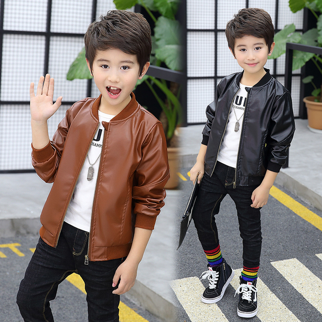 0e499e49608b Toddlers Boys PU Leather Jacket New Fashion Kids Jacket for Teen ...
