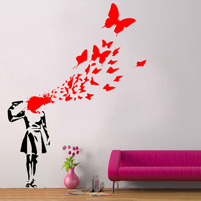 Creative Banksy Blood Butterfly Kill Suicide Girl Art Cool Vinyl Wall  Sticker Decal Mural Wallpaper Home