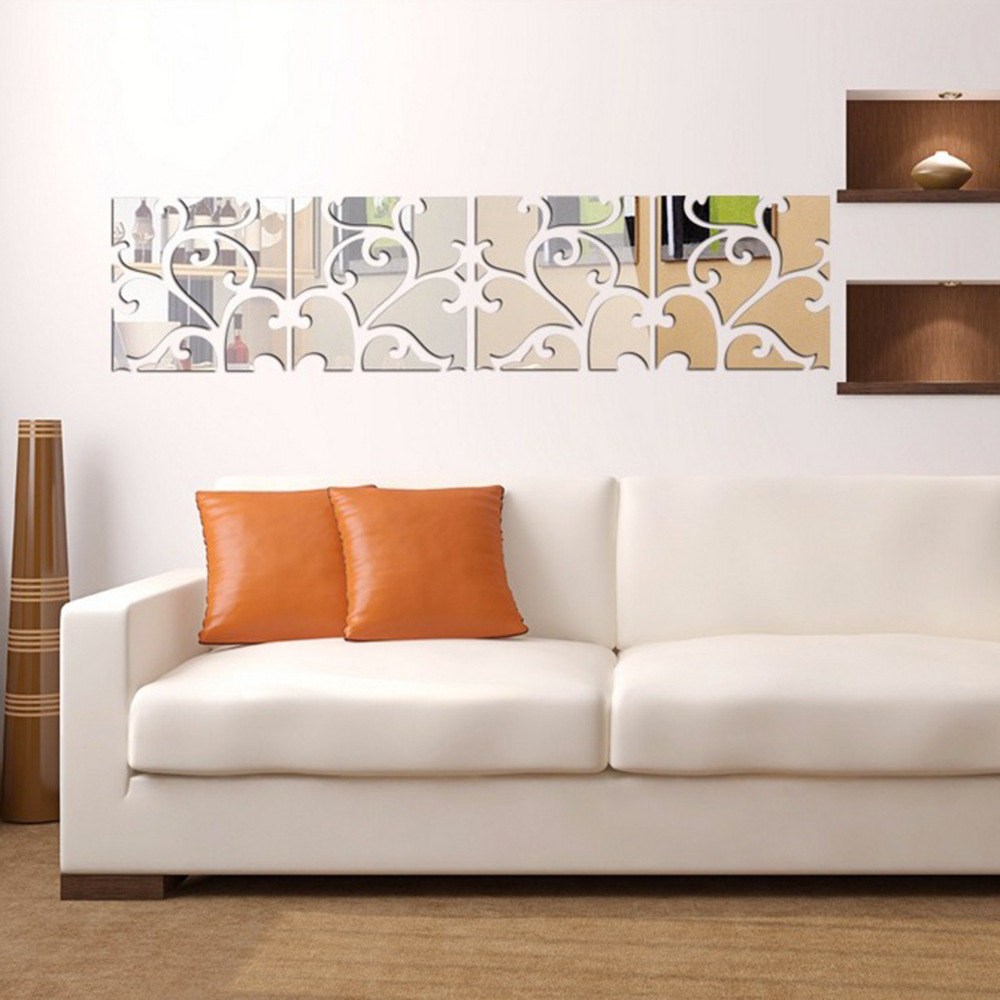 Buy flower vine mirror wall stickers for Mirror stickers