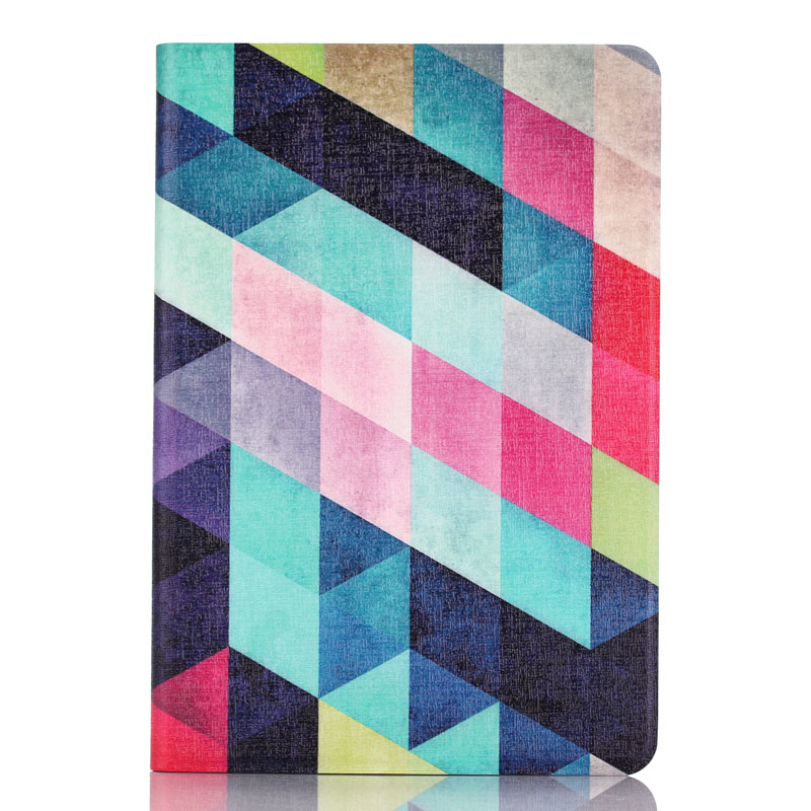 Fashion Colored Squares Flip Stand Leather Case Cover Skin Protecor Screen Protection For iPad Mini 1 2 3 Retina