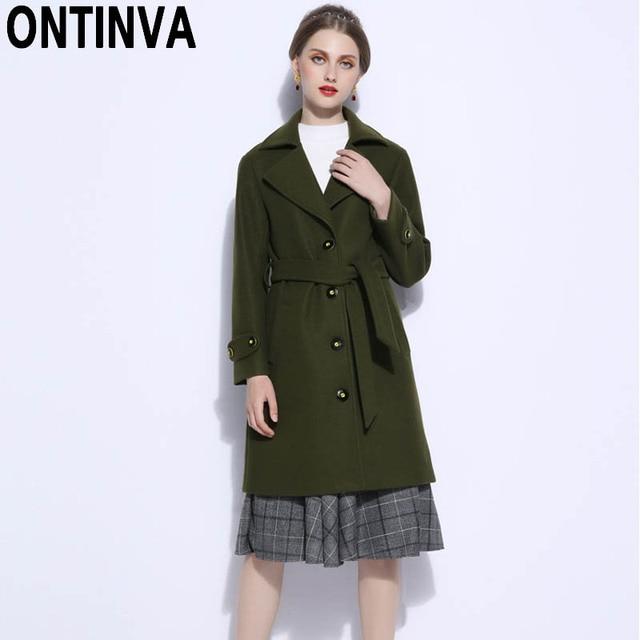 c5659a373712b 2018 Winter Fashion Green Color Long Wool Coat for Women XL XXL 3XL 4XL 5XL Plus  Size Long Sleeve Office Ladies Elegant Outwear