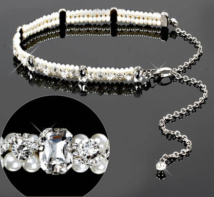 Female fashion a rhinestone claw chain with white crystal glass pearl Yaolian wholesale Chain20