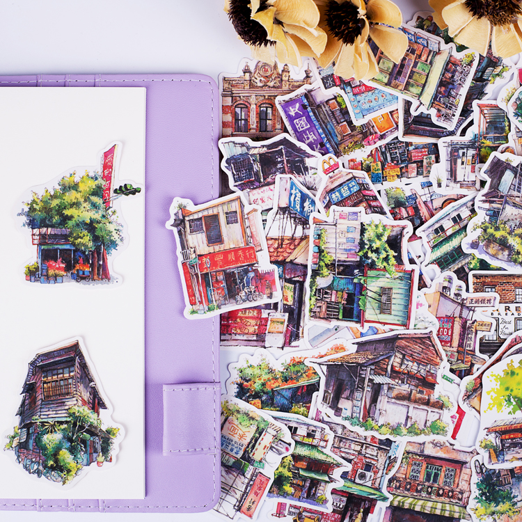 41 Pieces DIY Travel Architectural Scenery Stickers Sweet Store Sticker