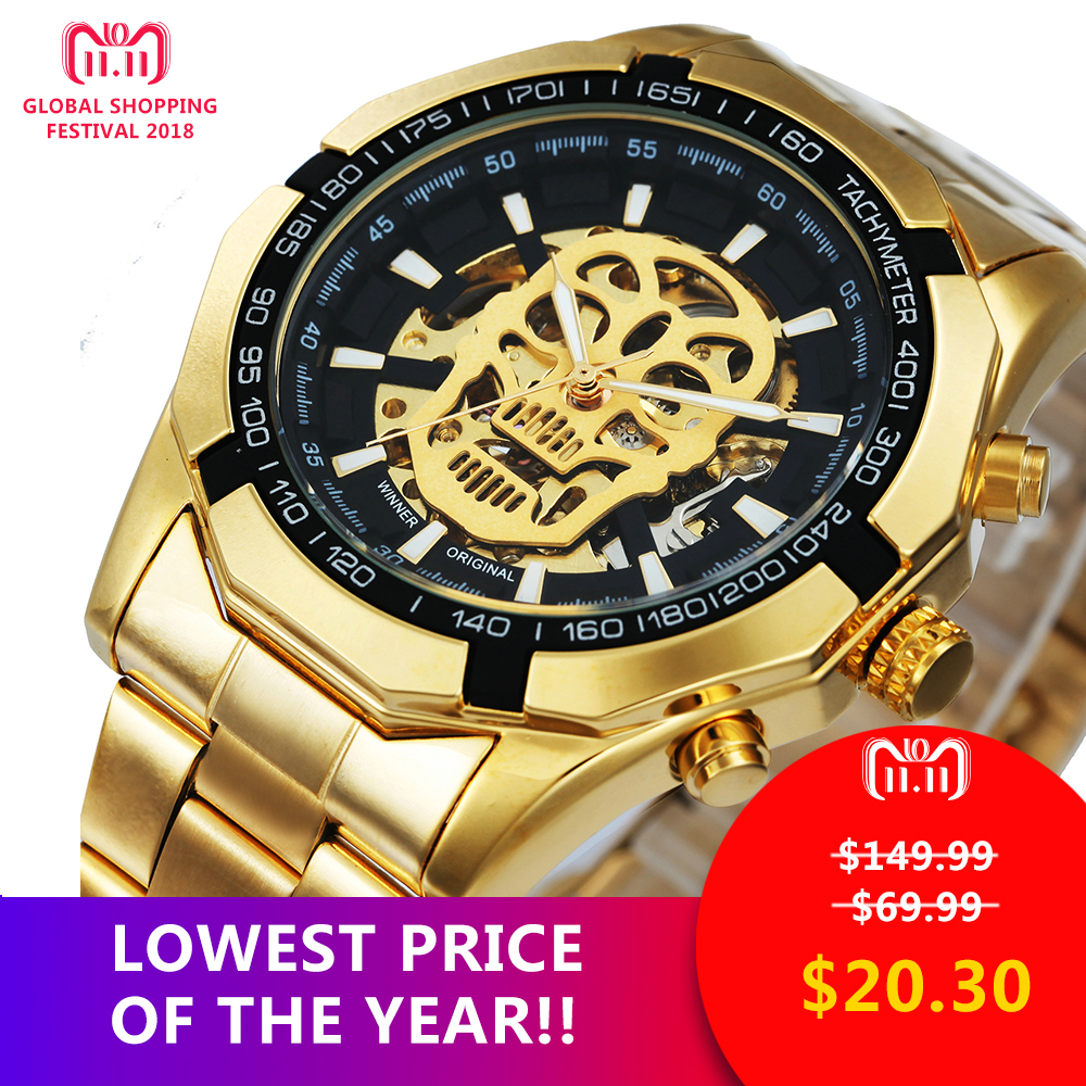 WINNER New Fashion Mechanical Watch Men Skull Design Top Brand Luxury Golden Stainless Steel Strap Skeleton Man Auto Wrist Watch цены