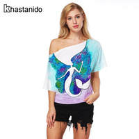 Women T Shirt Sloping Shoulder Mermaid 3d Print Tees Sexy Punk Rock Summer Tops Short Sleeve