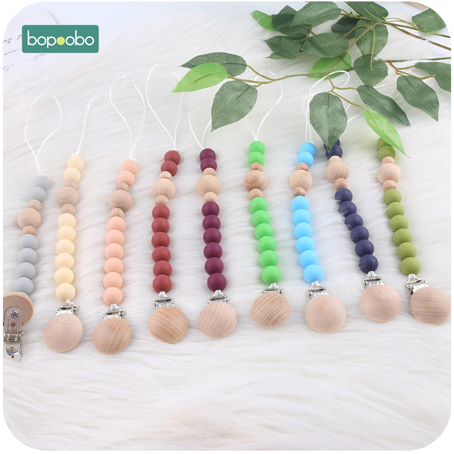 Bopoobo 1PC Baby Pacifier Clip Dummy Clip Wood Silicone Colorful Beads Chain Non-toxic Infant Soother Nipple Strap Baby Teether
