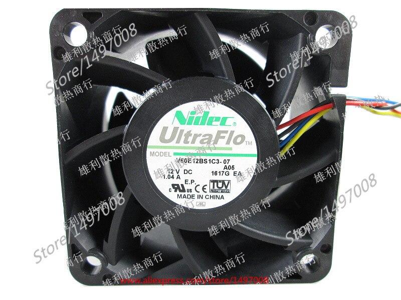 Free Shipping For Nidec V60E12BS1C3-07, A05  DC 12V 1.04A 4-wire 60mm, 60x60x38mm Server Square fan free shipping 10pcs cs4221 bs