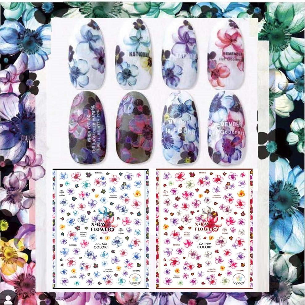 Nieuwste CA -188-189 bloem ontwerpen 3d nail art sticker decal god - Nagel kunst