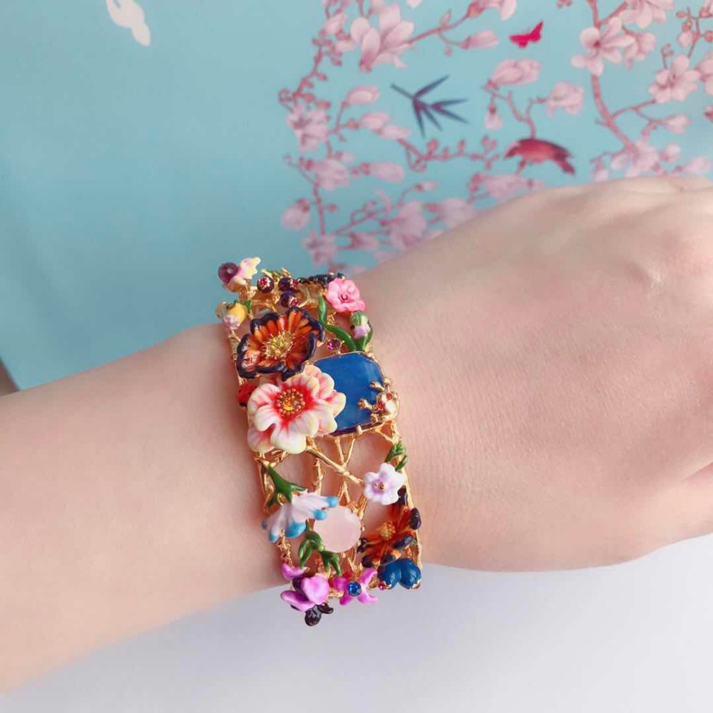 2018 Amybaby Spring Winter Monet Garden Flower Enamel Glaze Womens Bangle Jewelry For Party