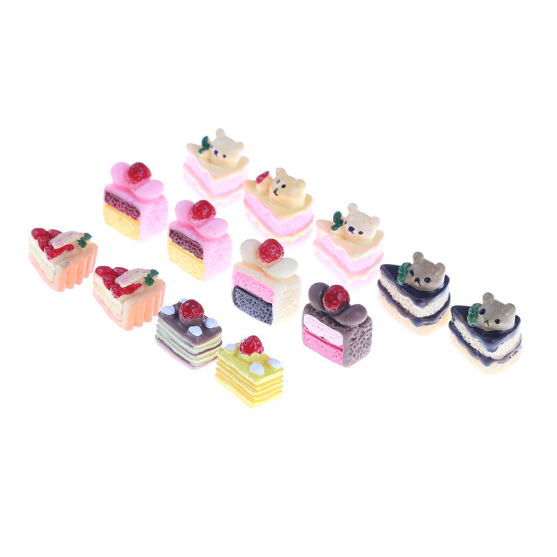 5pcs/set Dollhouse Miniature Food Scene Model DIY 3D Resin Cake Model Simulation Mini Cake For Kids Kitchen Toys