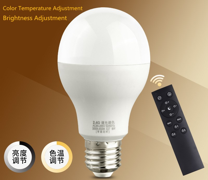 Smart home Timed wireless remote control bulb Stepless dimming Brightness adjustment color temperature adjustment E27 led bulb