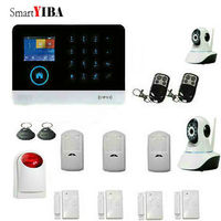 SmartYIBA WIFI APP Control SMS GSM Alarm System Metal Remote Control 433Mhz Wireless Sensors Network Camera Strobe Siren Kits