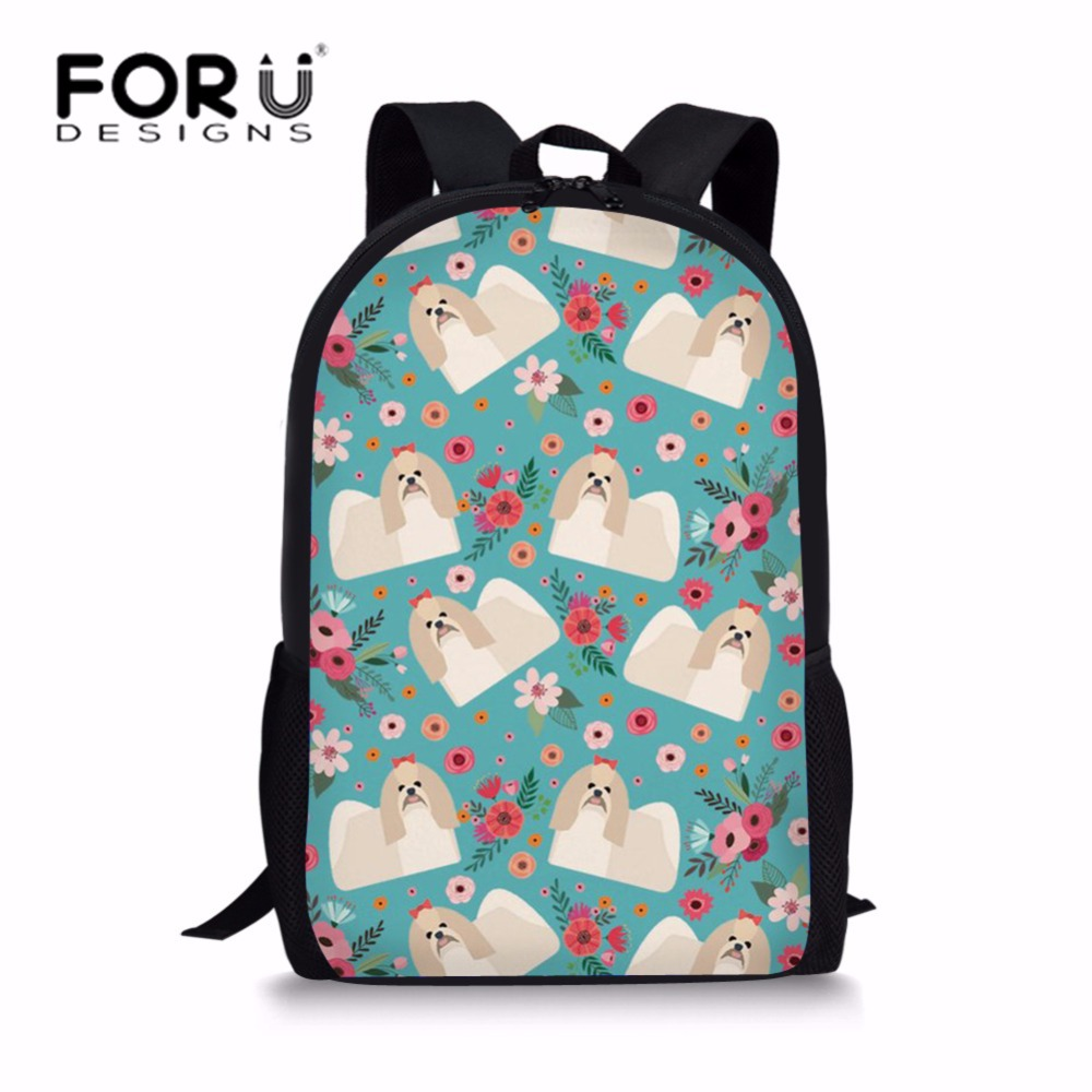 FORUDESIGNS Children School Bags Girls Primary School Backpack Shih Tzu Printing Schoolbag for Students Large Book Bag Mochila
