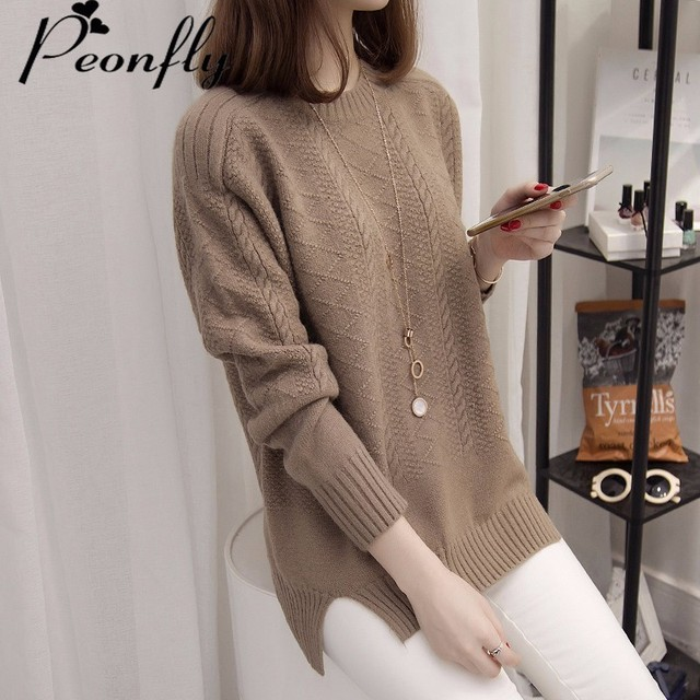PEONFLY Thick Warm Winter Sweater Women 2017 Knitted Pullover Female Jumper Tricot Pullover Women's Winter Tops Pull Femme