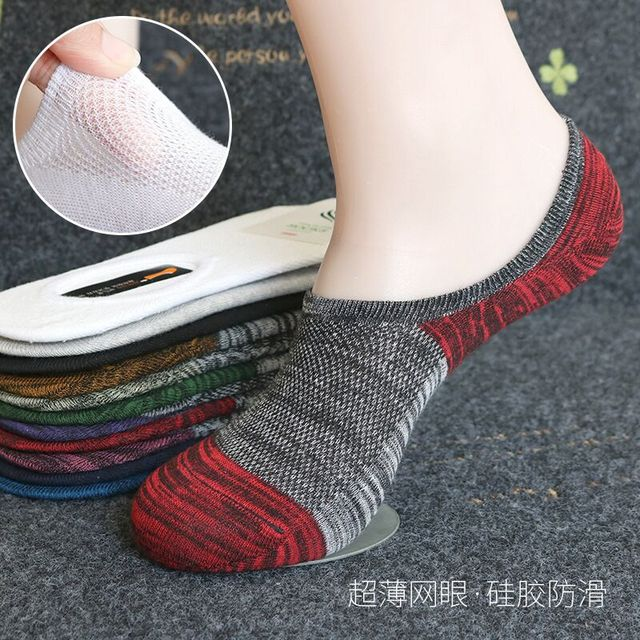 Men's stripes socks mesh breathable cool boat socks man off white cotton ankle socks white short socks meias masculino