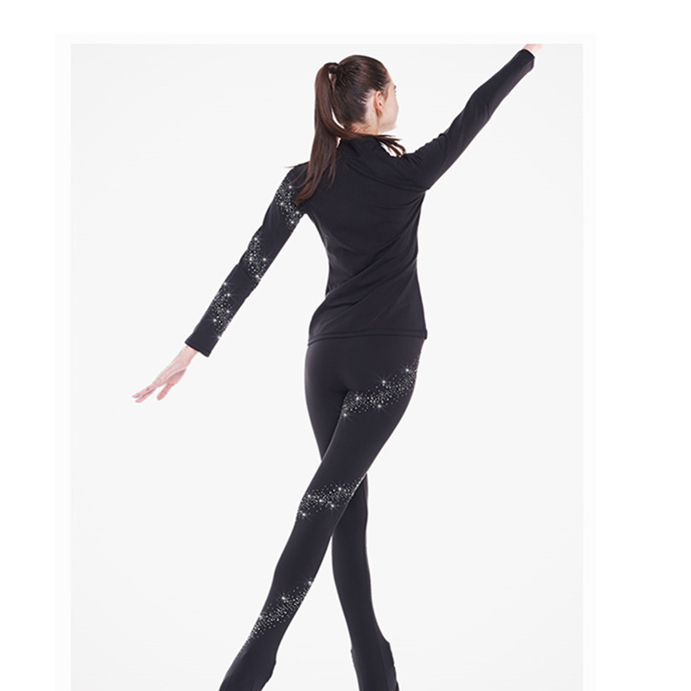 Figure Skating Jacket with Pants Women's Boys' Girls' Ice Skating Pants Trousers Top Black Spandex Stretchy Training Competition