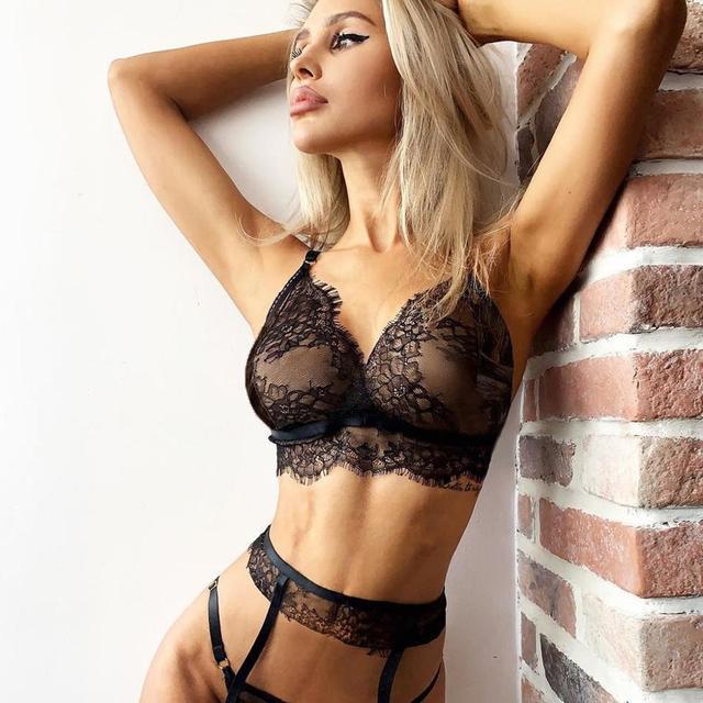 Sexy Women Black Lace Bra Underwear Set Sexy Lingerie lenceria mujer exotic Sleepwear Thong Garter Ladies Black Temptation Sets 5