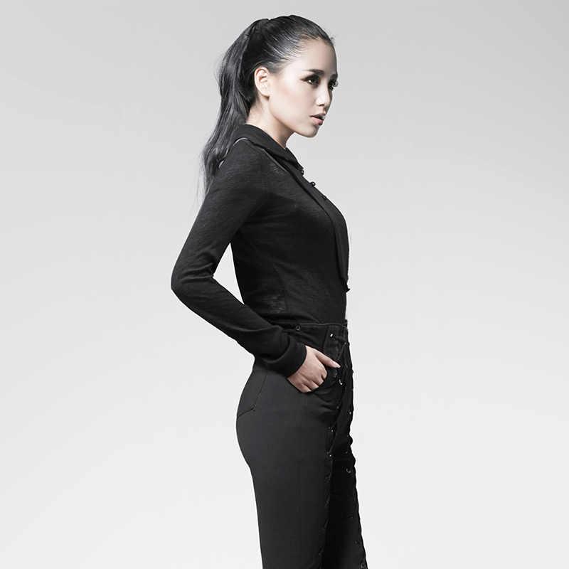 Панк рейв декадент готический выдалбливают длинный рукав черный с длинным рукавом футболки для девочек пикантные офисные женская футболка