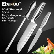 """XITUO 3 stücke Küchenmesser 7 """"5"""" zoll set chef fleischmesser utility pariing messerschärfer edelstahl zerspalten kochen werkzeuge"""